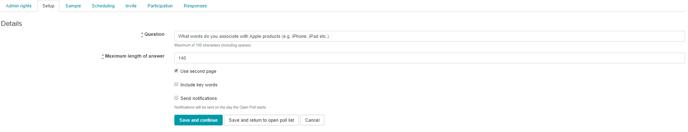 Create Open Poll Settings